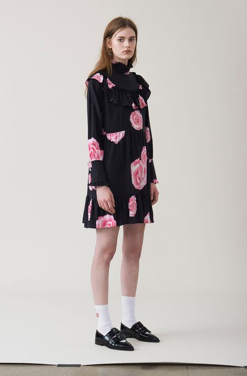 Fayette Silk Dress, Black, hi-res