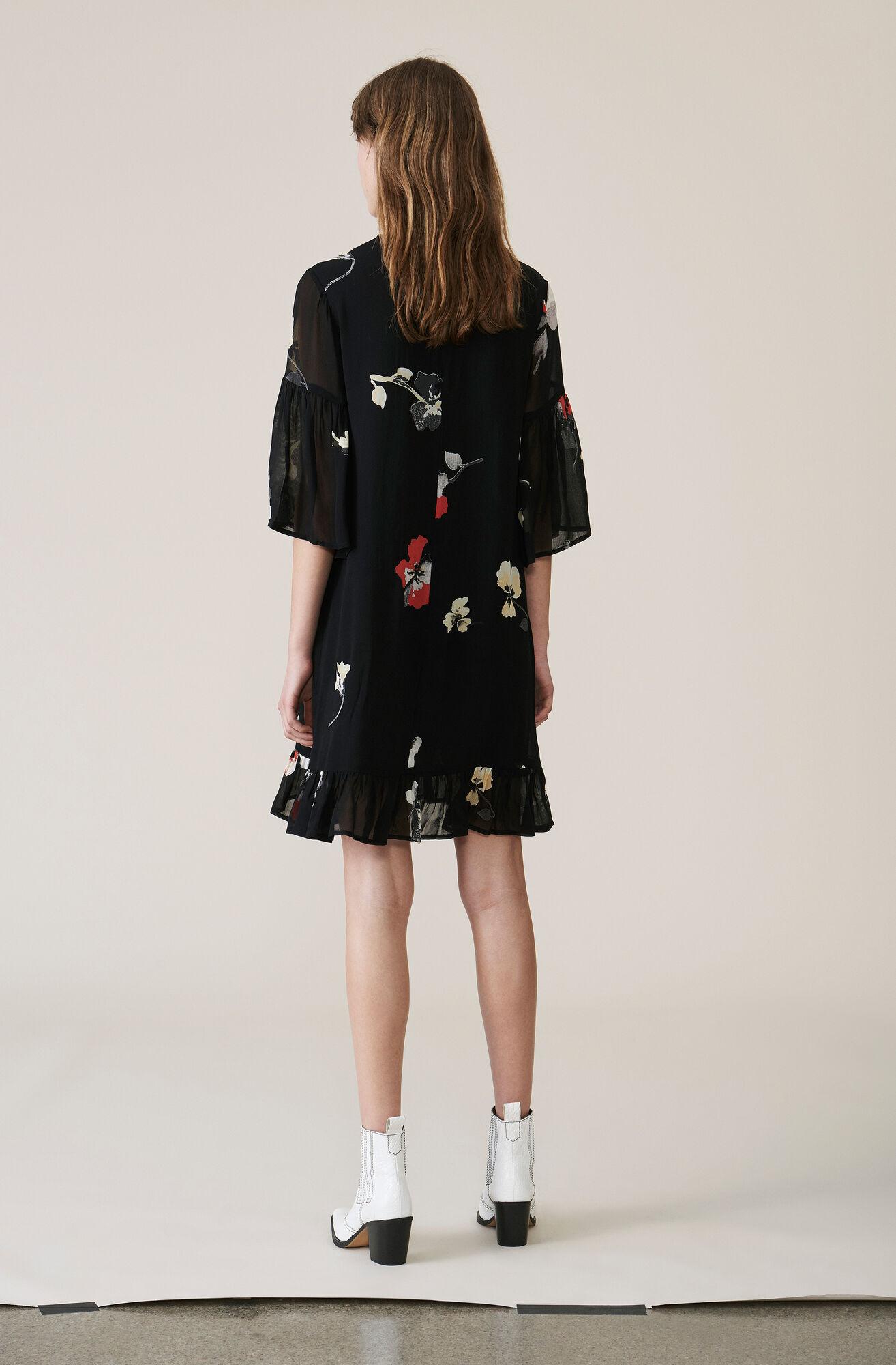 Lorita Georgette Mini Dress, Black, hi-res