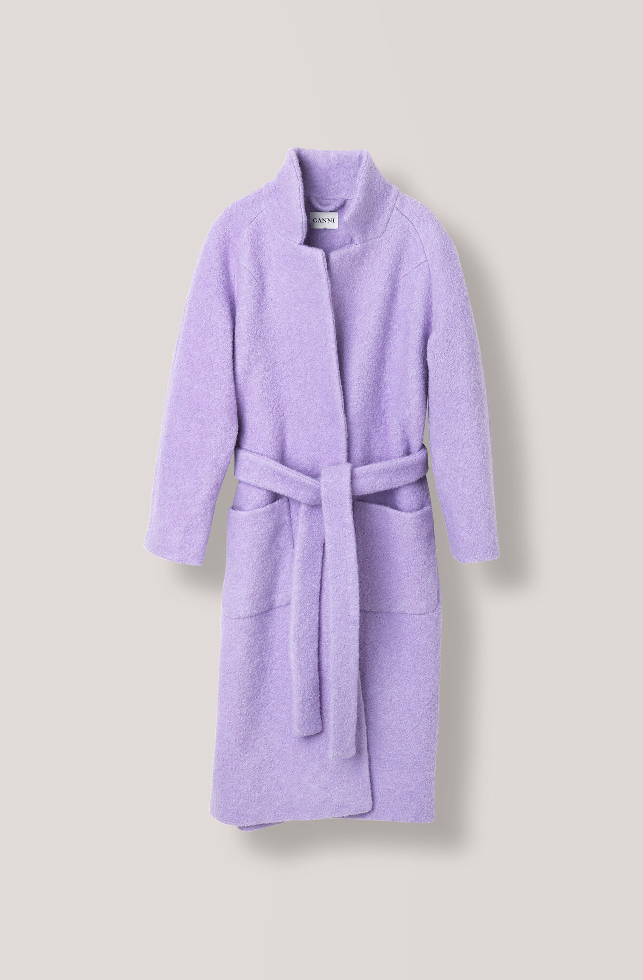 Fenn Long Wrap Coat, Pastel Lilac, hi-res