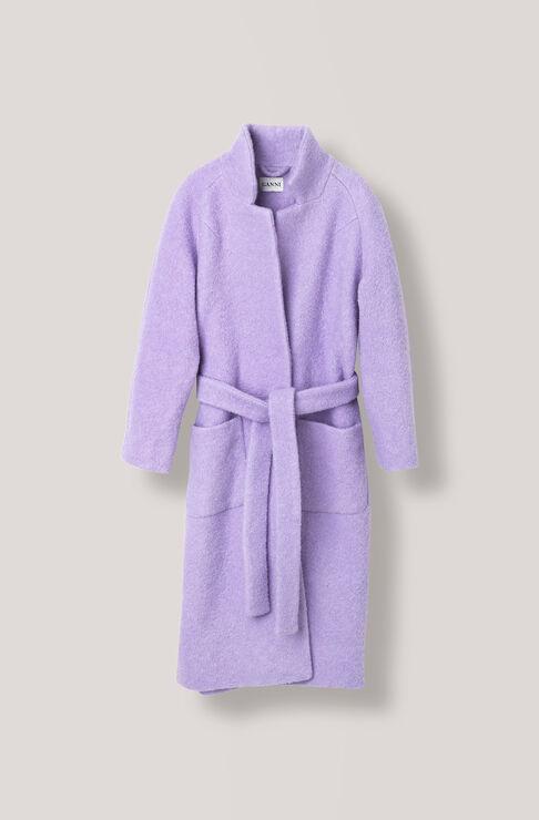Fenn Long Wrap Coat, Pastel Lilac, hi-res