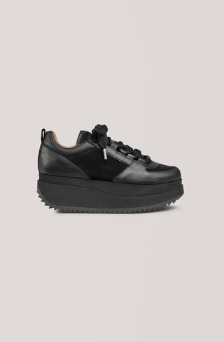 Naomi Leather Sneakers, Black, hi-res