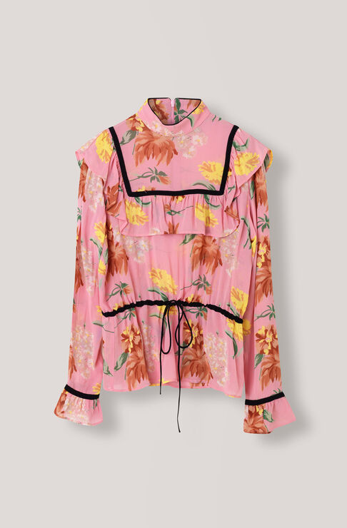 Marceau Georgette Blouse, Sea Pink, hi-res