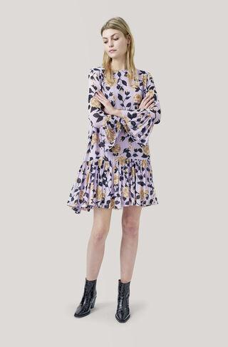 Carlton Georgette Dress, Pastel Lilac, hi-res