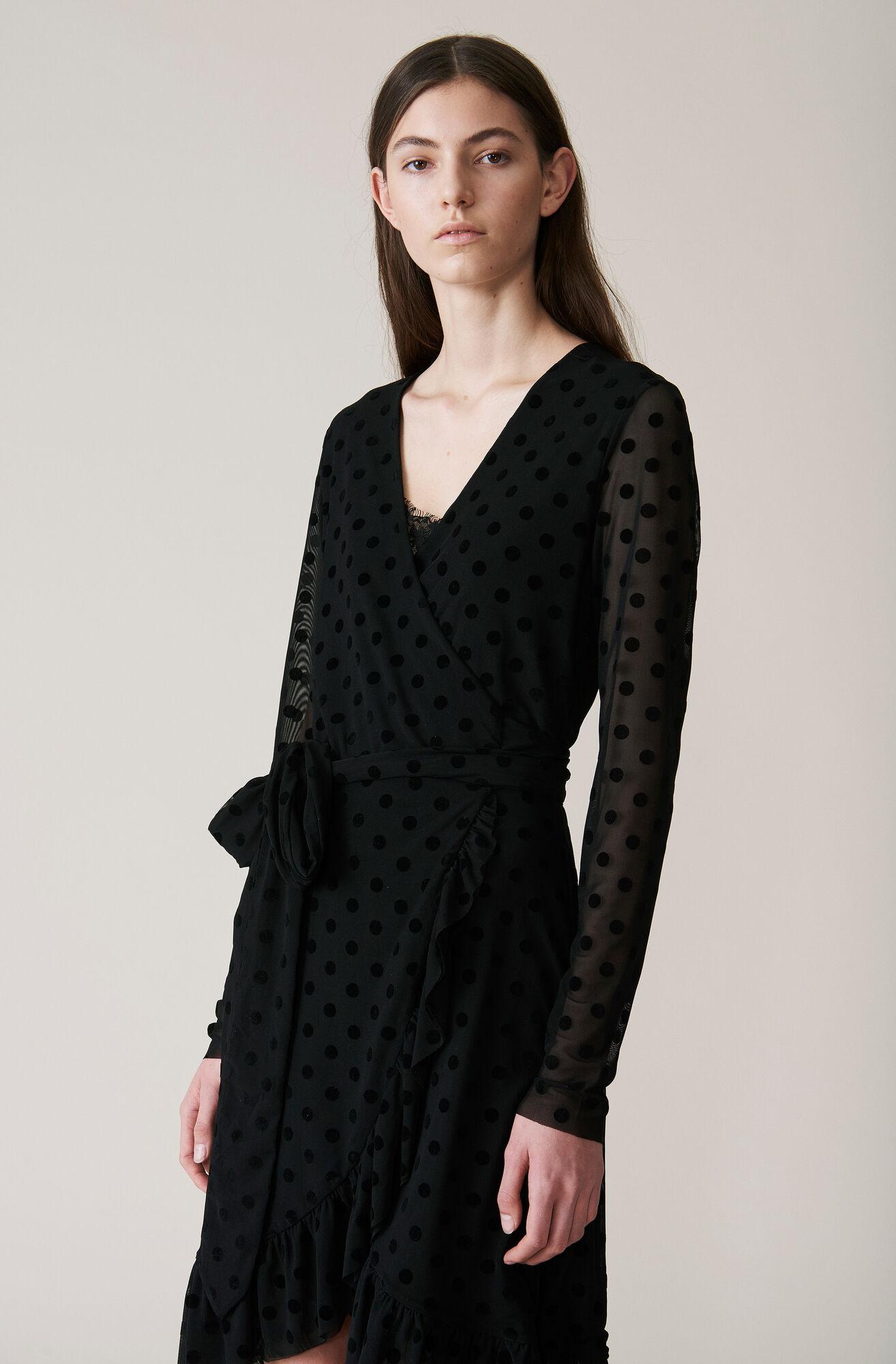 Valmy Wrap Dress, Black, hi-res