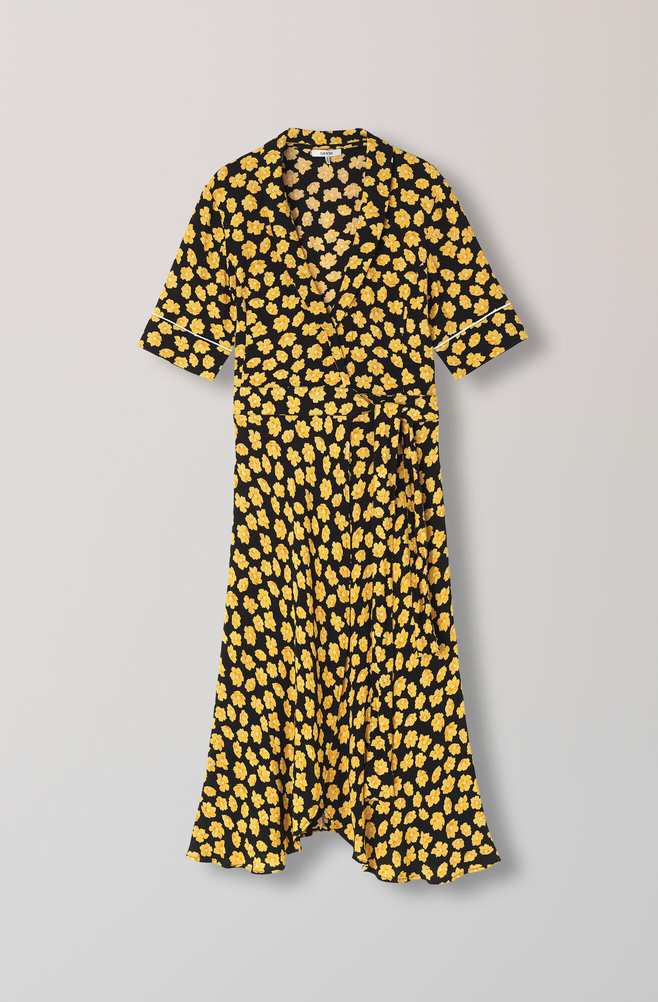 Emory Crepe Wrap Dress, Black, hi-res