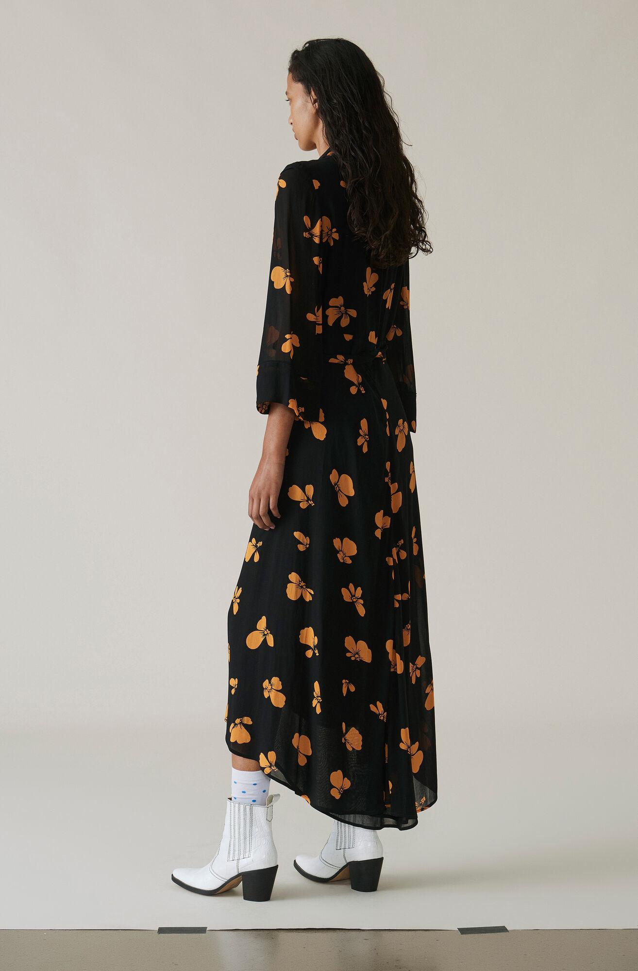 Fairfax Georgette Wrap Dress, Black, hi-res