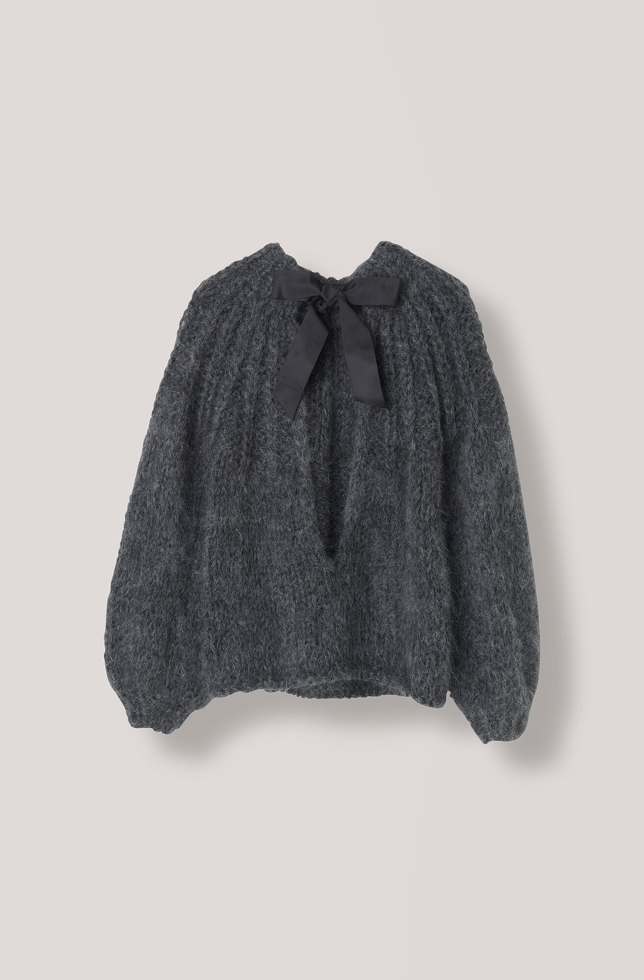 The Julliard Mohair Open Back Pullover, Ebony Melange, hi-res