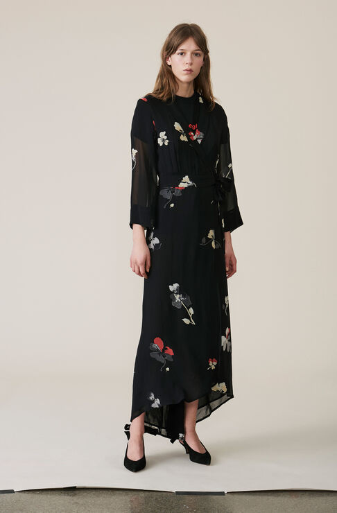 Lorita Georgette Wrap Dress, Black, hi-res