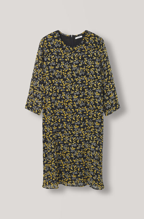 Marceau Georgette Dress, Black, hi-res