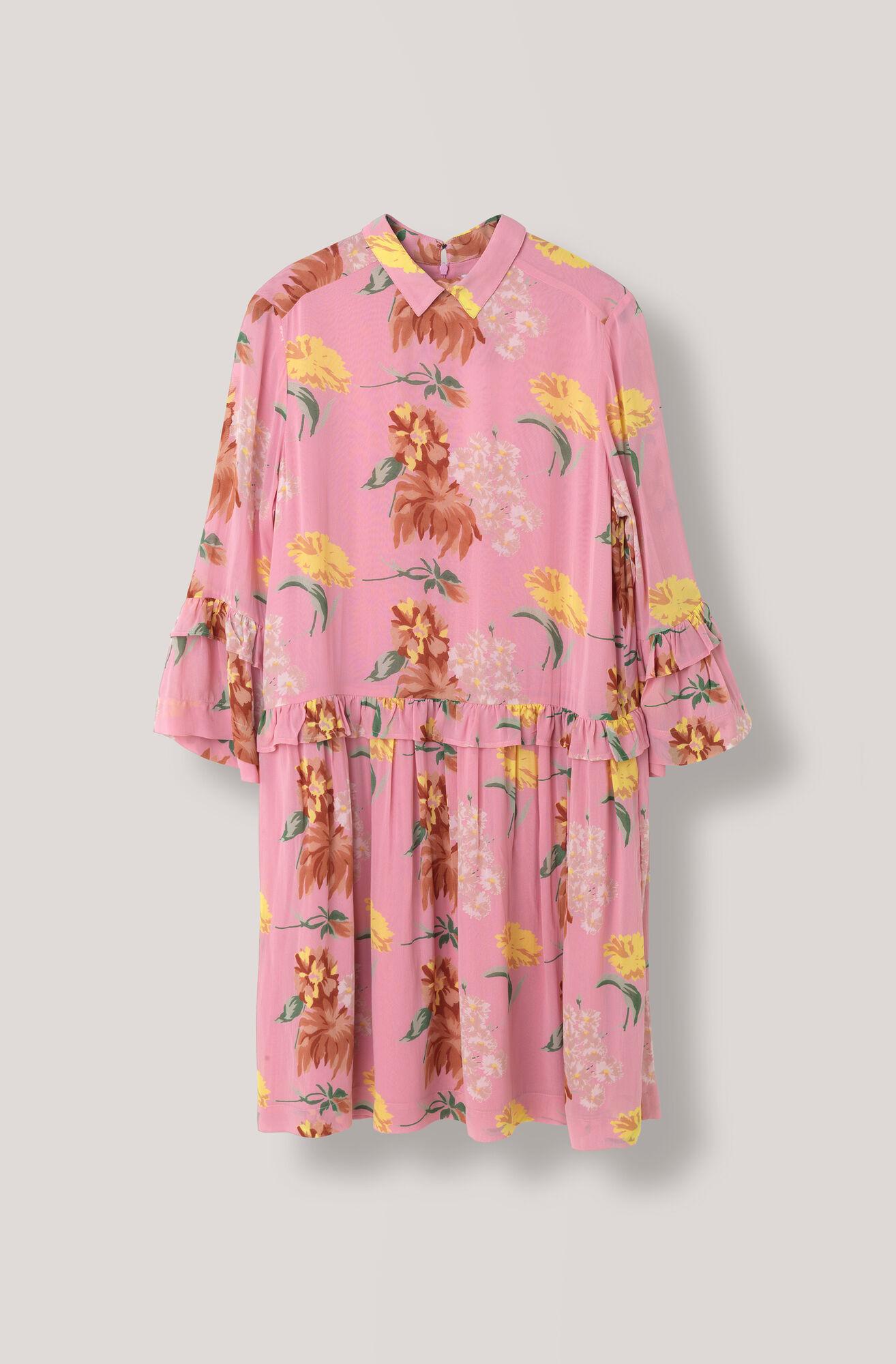Marceau Georgette Mini Dress, Sea Pink, hi-res