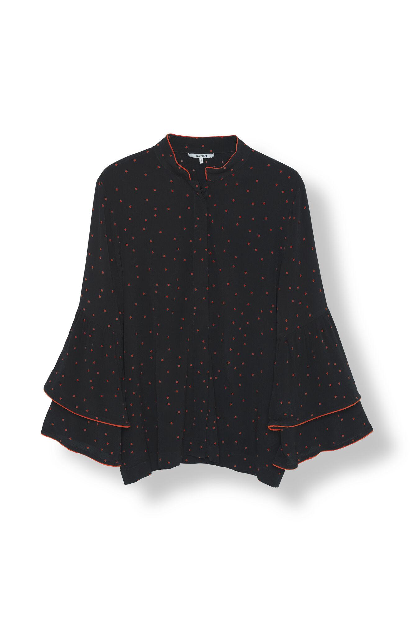 Emory Crepe Shirt, Black, hi-res