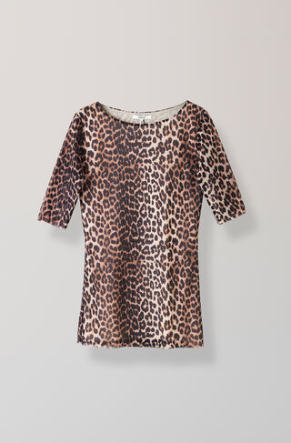Peirce Mesh T-shirt, Leopard, hi-res