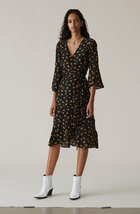 Beacon Wrap Dress, Black, hi-res