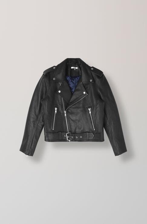 Angela Leather Biker Jacket, Black, hi-res