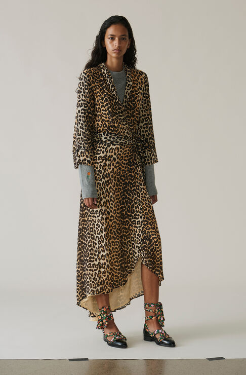 Fairfax Georgette Wrap Dress, Leopard, hi-res