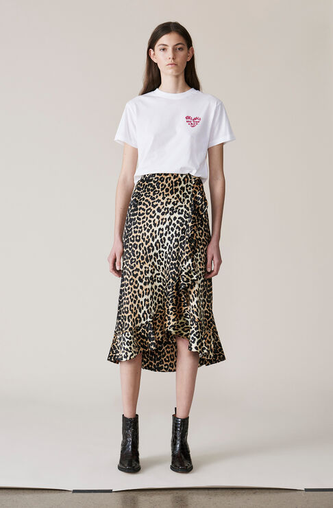 Dufort Silk Skirt, Leopard, hi-res