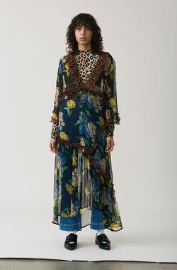 Louvre Chiffon Maxi Dress, Black, hi-res
