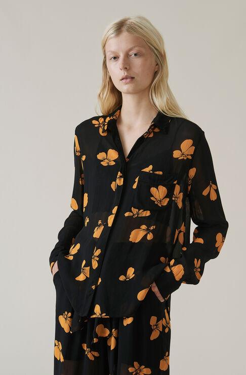 Fairfax Georgette Shirt, Black, hi-res