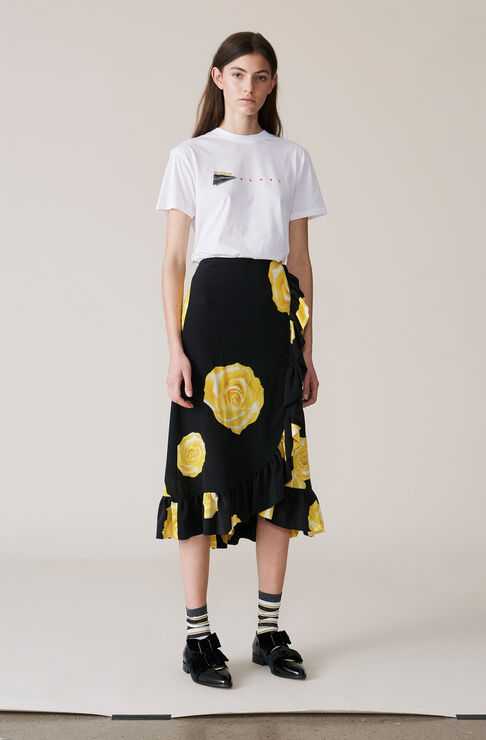 Fayette Silk Skirt, Lemon, hi-res