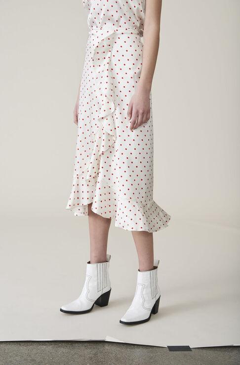 Dufort Silk Skirt, Egret, hi-res