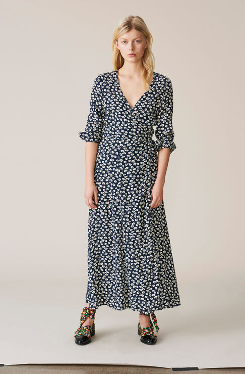 Roseburg Crepe Wrap Dress, Total Eclipse, hi-res