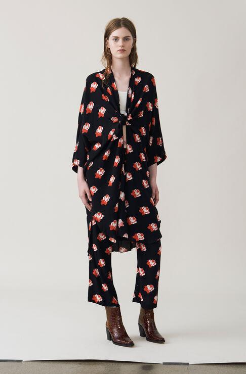 Harley Crepe Kimono Dress, Black, hi-res