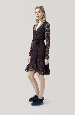 Flynn Lace Wrap Dress, Black, hi-res