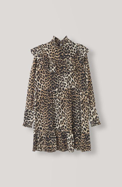 Fayette Silk Dress, Leopard, hi-res