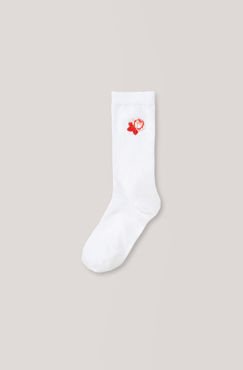 Classon Embroidery Ankle Socks, Roses, Vanilla Ice, hi-res