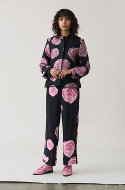 Fayette Silk Pants, Black, hi-res