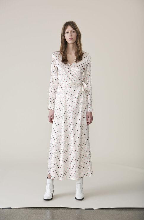 Dufort Silk Wrap Dress, Egret, hi-res