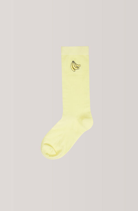 Classon Embroidery Ankle Socks, Banana, Anise Flower, hi-res