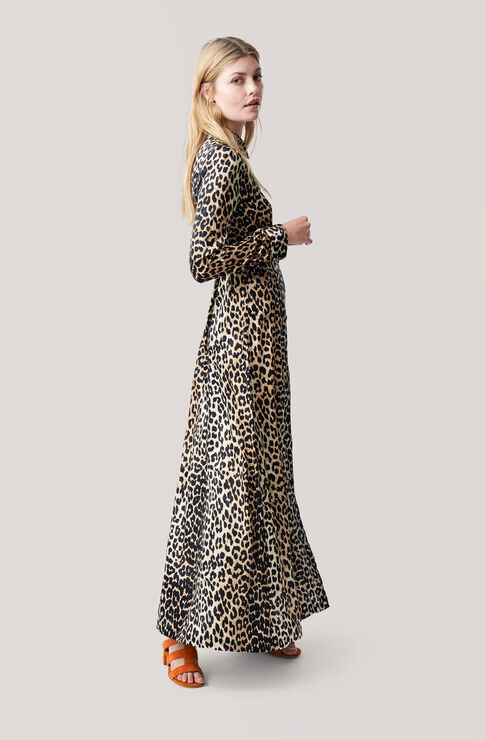 Dufort Silk Maxi Dress, Leopard, hi-res
