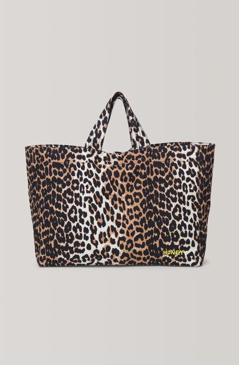 Fabre Cotton Tote Bag, Leopard, hi-res