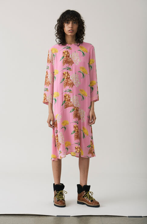 Marceau Georgette Dress, Sea Pink, hi-res