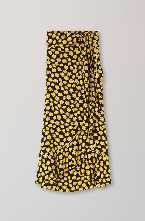 Emory Crepe Wrap Skirt, Black, hi-res