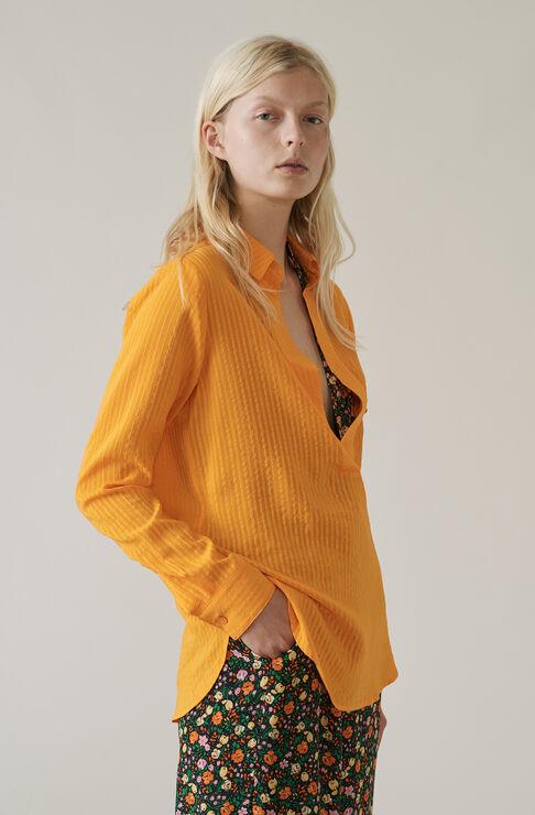 Wilkie Seersucker Blouse, Turmeric Orange, hi-res
