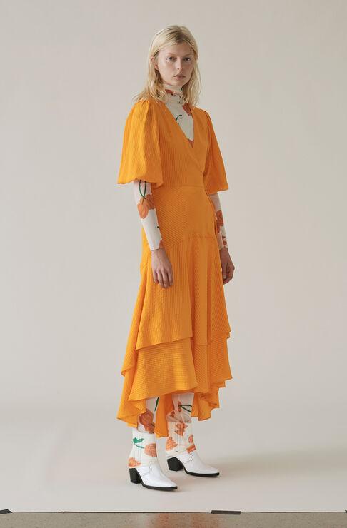 Wilkie Seersucker Wrap Dress, Turmeric Orange, hi-res