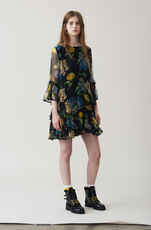 Louvre Chiffon Dress, Black, hi-res