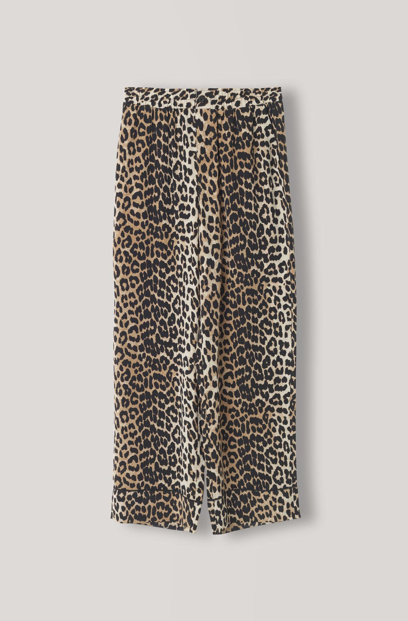 Fayette Silk Pants, Leopard, hi-res