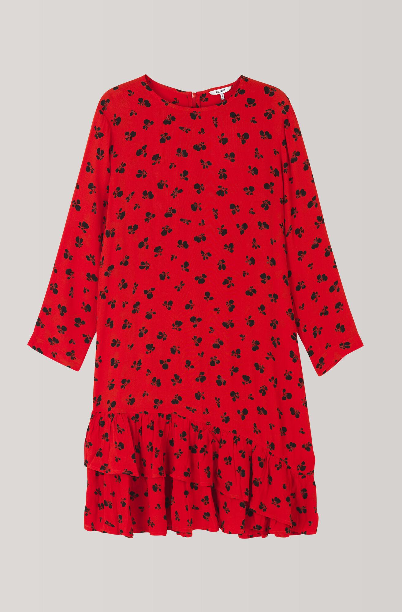 Emory Crepe Mini Dress, Fiery Red, hi-res