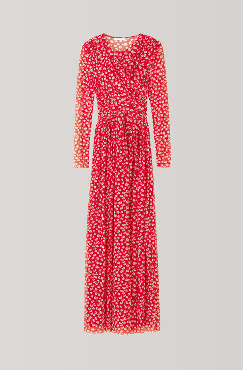 Tilden Mesh Maxi Dress, Fiery Red, hi-res