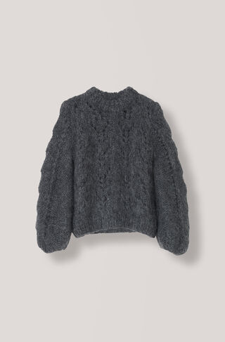 The Julliard Mohair Pullover, Ebony Melange, hi-res