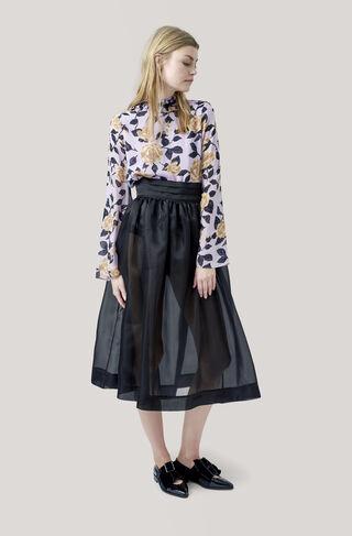 Seneca Silk Skirt, Black, hi-res
