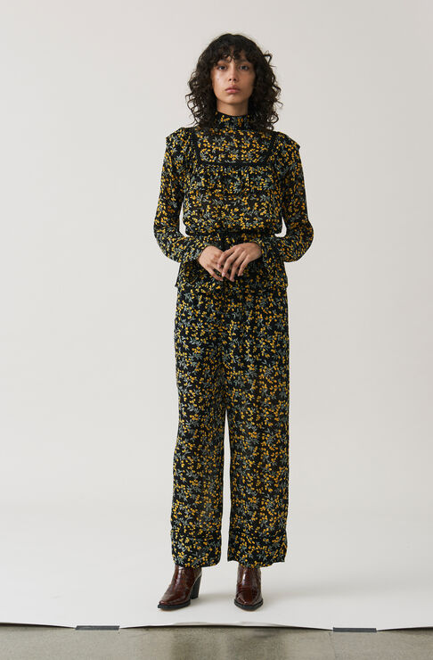 Marceau Georgette Pants, Black, hi-res