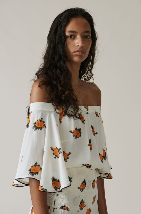 Roseburg Crepe Off Shoulder Top, Vanilla Ice, hi-res