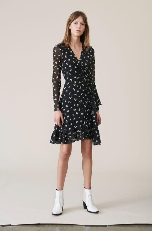 Tilden Mesh Wrap Dress, Black, hi-res