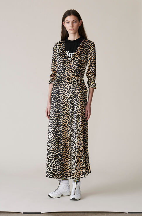 Dufort Silk Wrap Dress, Leopard, hi-res