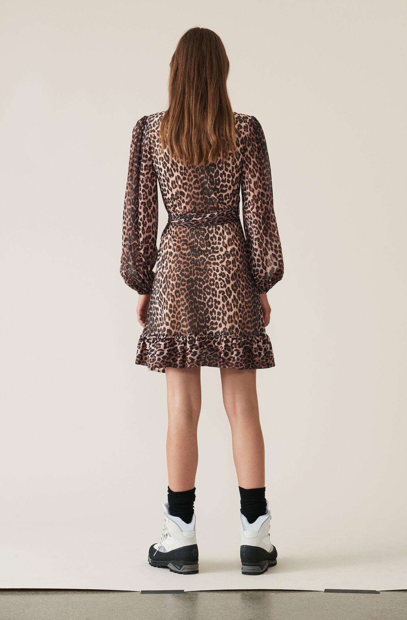 Printed Mesh Wrap Kjole, Leopard, hi-res