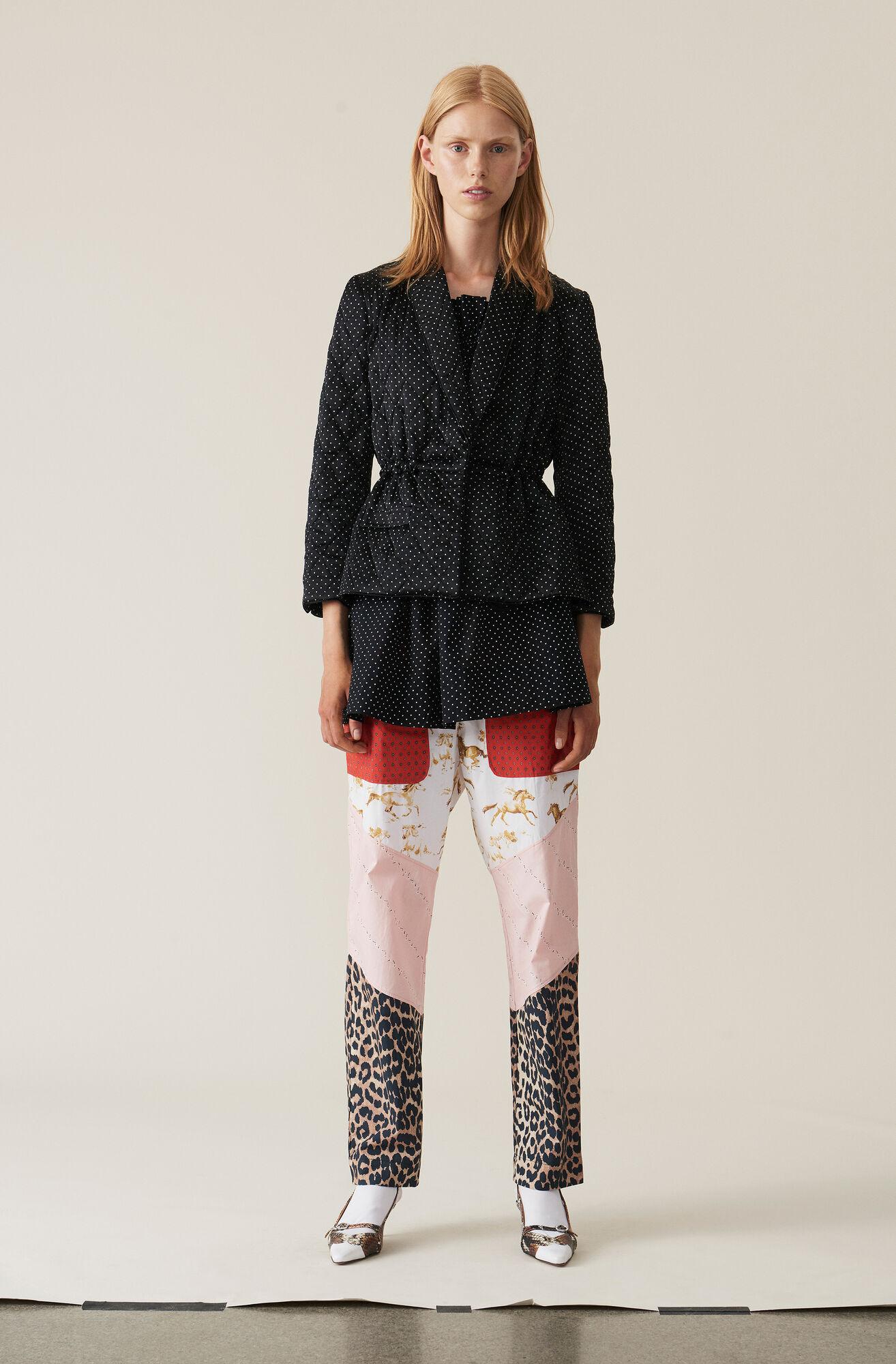 Mixed Cotton Poplin Pants, Block Colour, hi-res